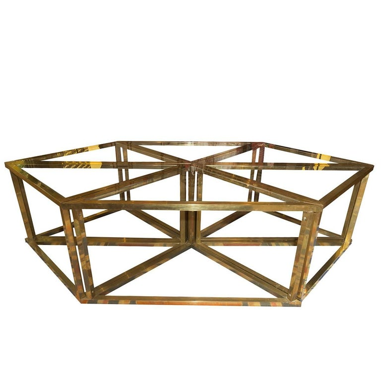 Romeo Rega Modular Table, 1970s, Brass and Crystal For Sale