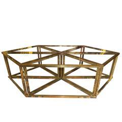 Romeo Rega Modular Table, 1970s, Brass and Crystal