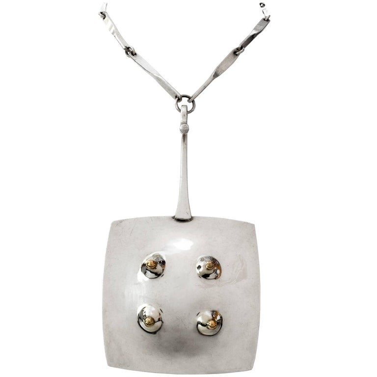 Scandinavian Modern Sterling Silver Pendant with Chain by Ove Bohlin, 1972 For Sale