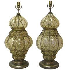 Pair of Italian Murano Glass Table Lamps by Marbro