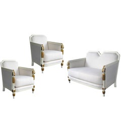 Stylish French Art Deco Ivory Painted & Parcel-Gilt Suite of Two Chairs & Settee