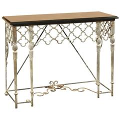 Custom-Made Iron Console with Black Marble Top
