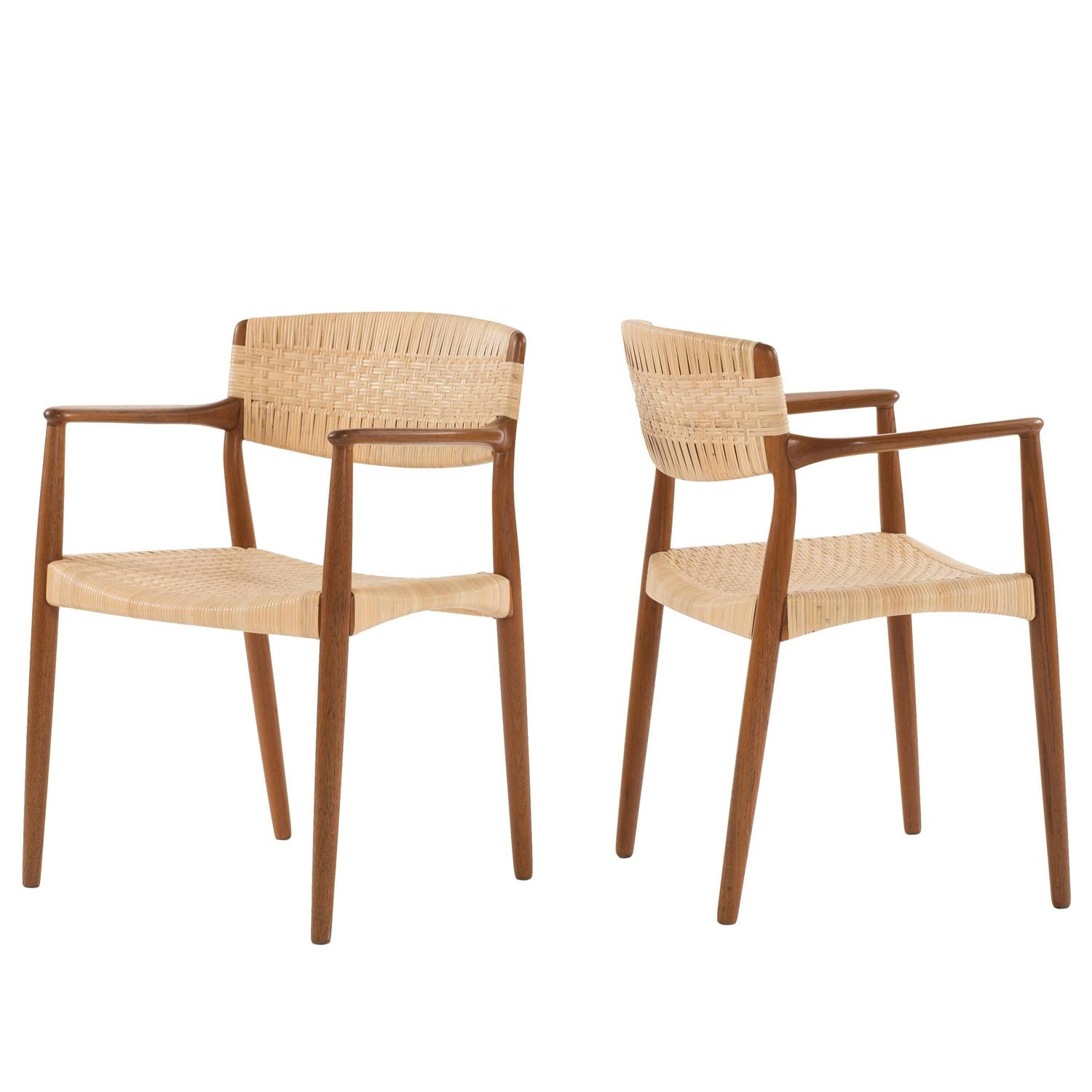 Attractive Set Of 8 Armchairs By Ejner Larsen And Aksel Bender Madsen For Willy Beck  For Sale At 1stdibs
