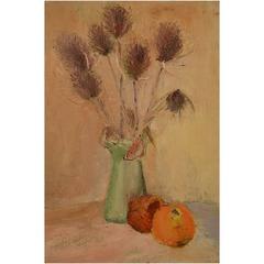 """Ray Letellier, French Artist """"Pommes et Chardin"""" Still Life, Oil on Panel"""
