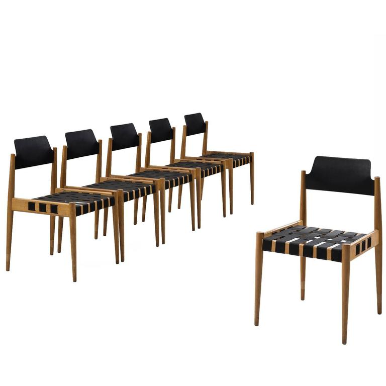 Egon Eiermann Set of Six 'SE120' Chairs in Beech and Webbing For Sale