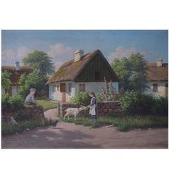 Alfred Larsen, Danish Painter, Idyllic Country Scenery, Oil on Canvas