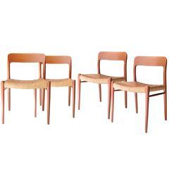 Set of Four Chairs Designed by N.Ö. Møller, Denmark, 1950