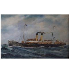 Unknown Marine Painter, St. Petersburg Steamer, Oil on Canvas