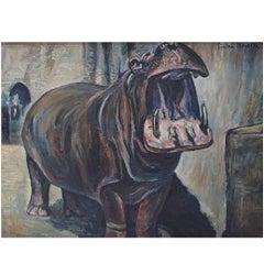 Pierre Noyelle French Artist, Hippopotamus Oil on Canvas