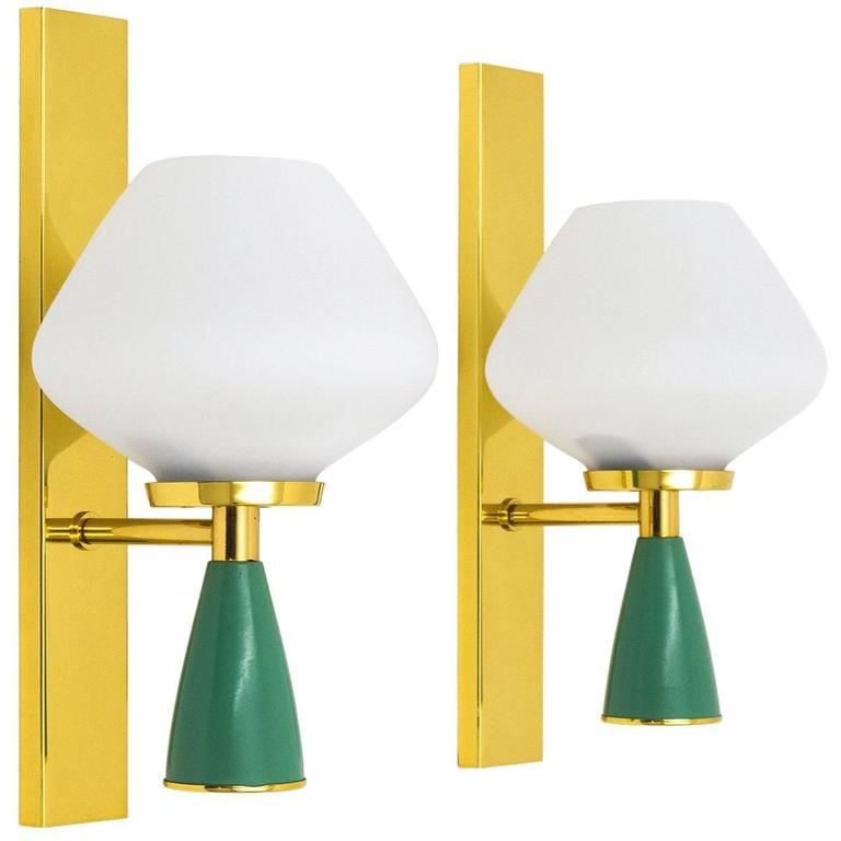 Italian Brass and Glass Sconces, 1950s