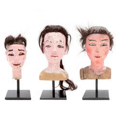 Victorian Antique Wooden Doll Heads