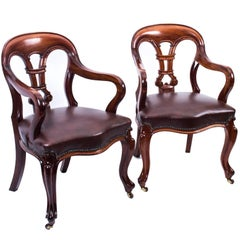 19th Century Pair of William IV Mahogany and Leather Armchairs