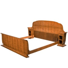 Early 20th Century Art Deco Birchwood Bed