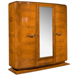early 20th century art deco birchwood wardrobe art deco figured walnut wardrobe vintage