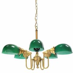Emerald and Glass Brass Light Fixture