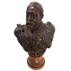 Bronze Bust of King George V on Marble Base, 19th Century