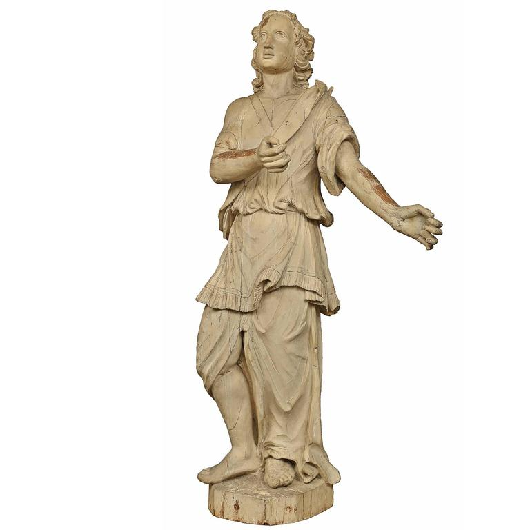 Italian 17th Century Patinated Wood Carved Statue For Sale