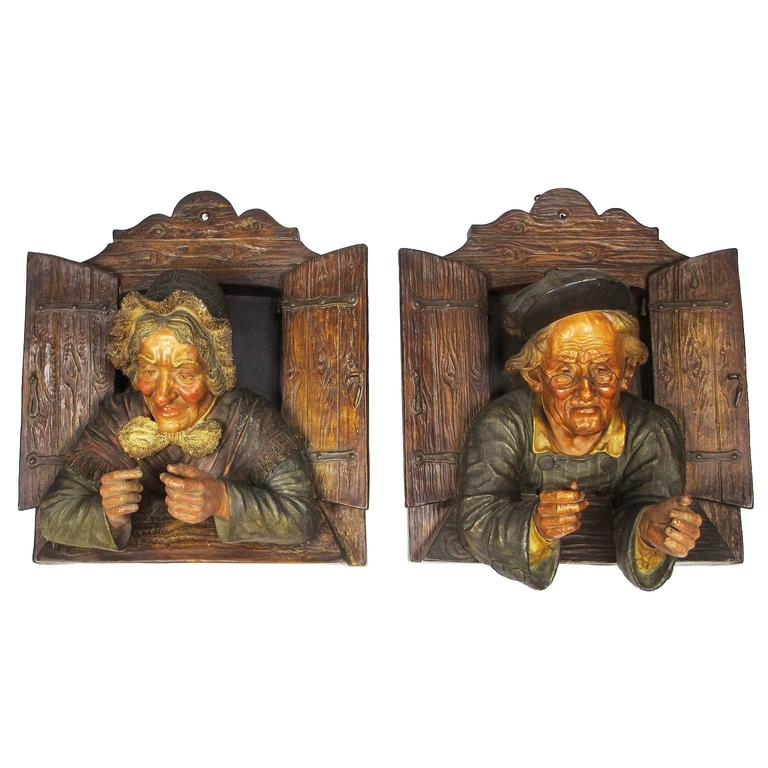 Charming Pair of Austrian 19th Century Polychromed Majolica Wall Sculptures For Sale