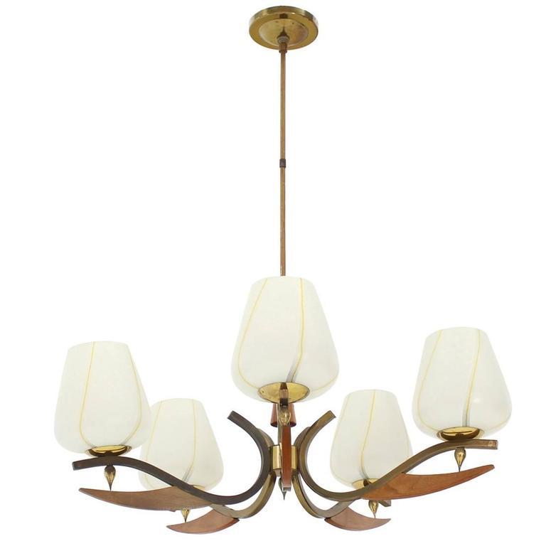 Mid-Century Modern Brass Art Glass Walnut Light Fixture