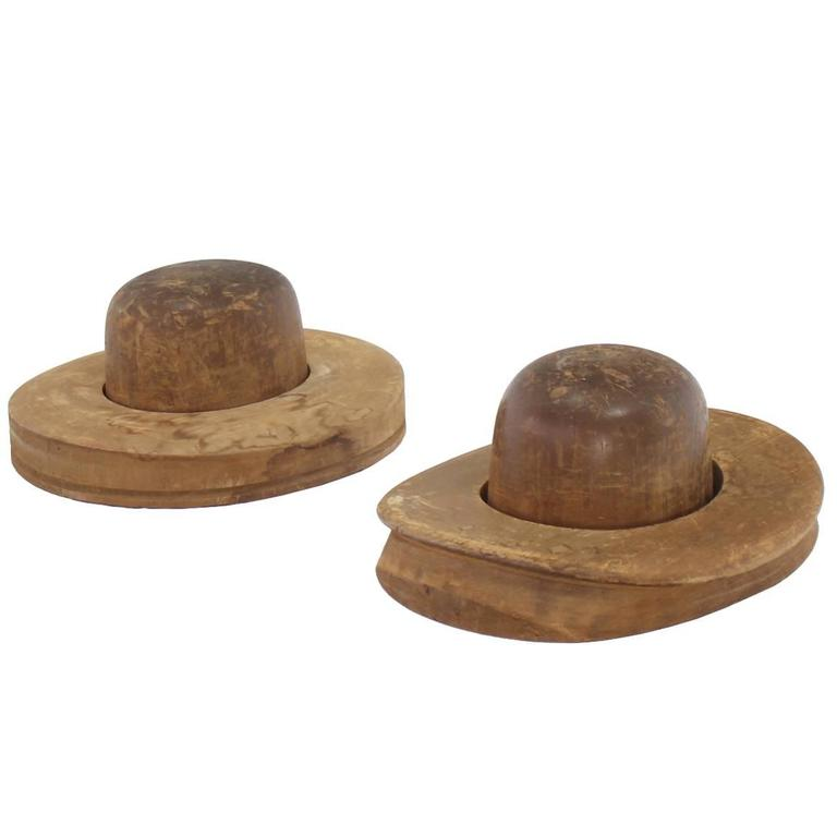 Pair of Wooden Antique Hat Forms For Sale