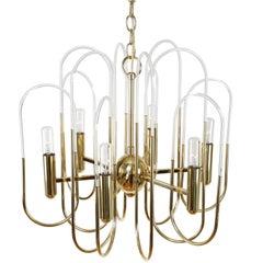 Gaetano Sciolari Brass and Glass Loop Chandelier, Circa 1960s
