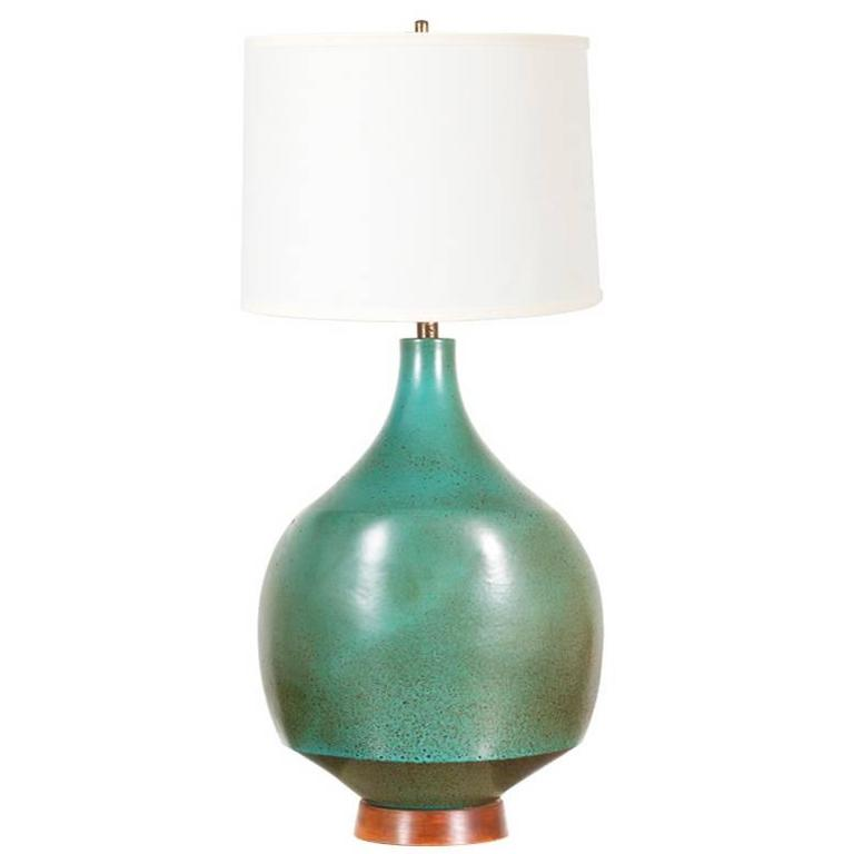 Mid-Century Teal Ceramic Table Lamp by David Cressey