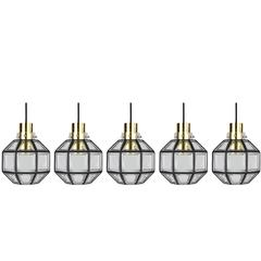 Five Minimalist Iron & Clear Glass Geometric Pendant Lights by Limburg 1960s