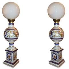 Pair of Royal Vienna Style Lamps Signed