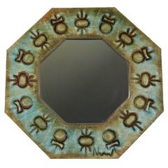 1970s Octagonal Blue Resin Mirror