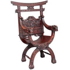 19th Century Carved Chinese Hardwood Throne Chair