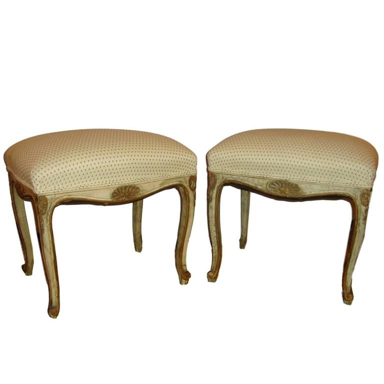 Pair of French Louis XV Style Painted Stools For Sale