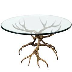Spectacular Bronze Antler Table