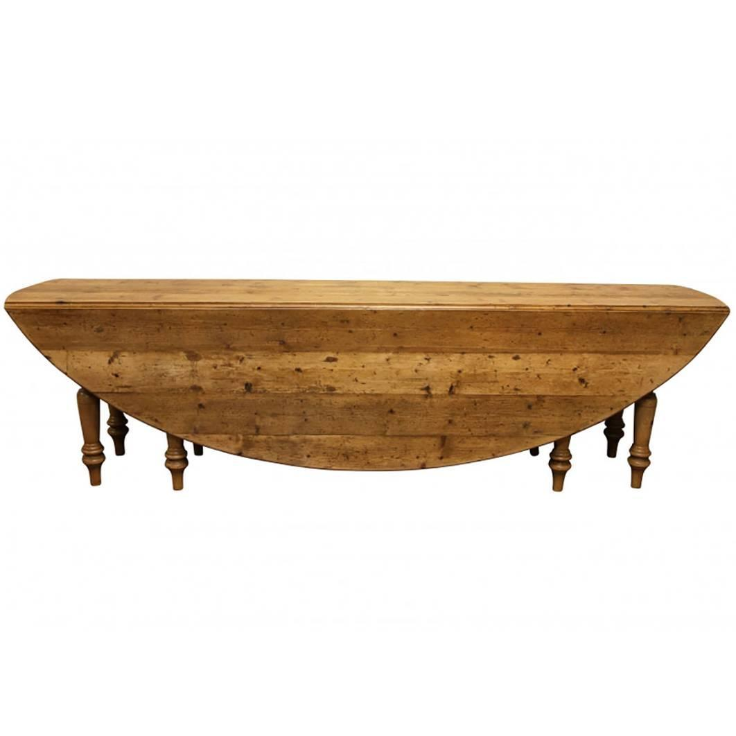 Massive Reclaimed Wood Oval Drop Leaf Farm Table at 1stdibs