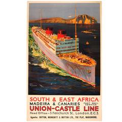 Original Vintage Union Castle Line Cruise Ship Poster, South & East Africa 1930s