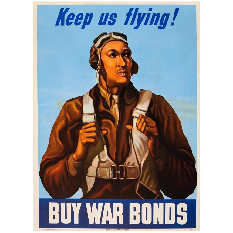 original world war ii poster keep us flying buy war bonds tuskegee