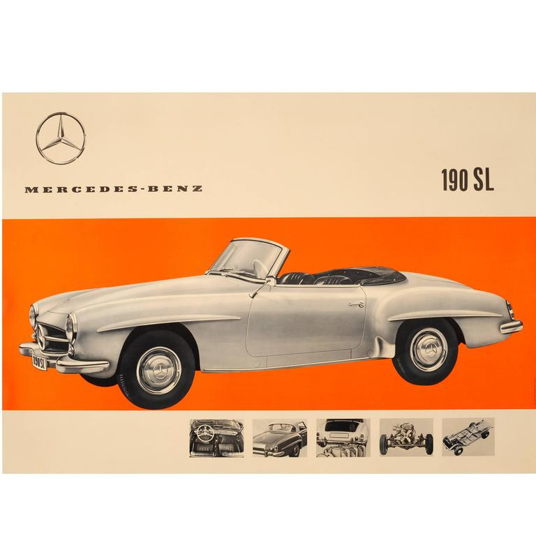 Original vintage car advertising poster for mercedes benz for Mercedes benz poster