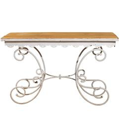 French Baking Table with Wooden Top