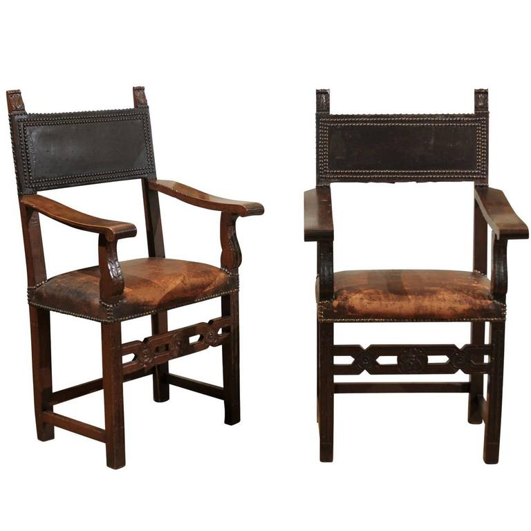 Pair of Leather and Wood Jacobean Style Chairs
