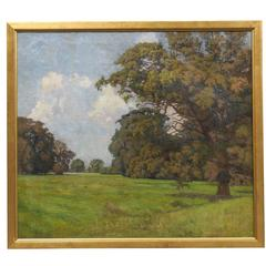 "Gilt Framed Oil on Canvas Landscape Painting Signed and Dated ""Tateu"" circa 1920"