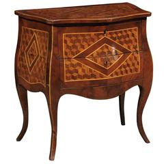 Petite Italian Cube Parquetry Inlaid Commode with Bombe Front and Two Drawers