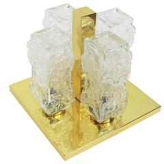 Petite Square Brass Ice Glass Flush Mount by Hillebrand, Germany, 1970s