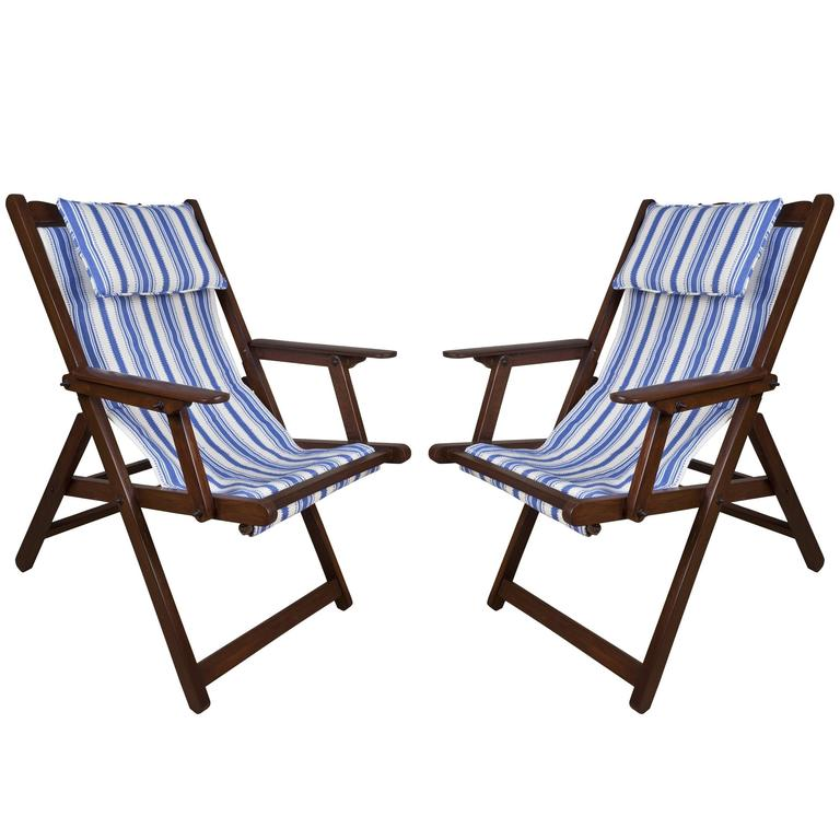 Pair Of Mid Century British Campaign Folding Teak And Canvas Chairs For Sale