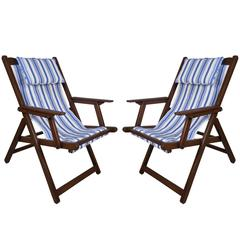 Pair of Mid-Century British Campaign Folding Teak and Canvas Chairs
