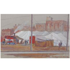 """""""Behind the Circus"""" WPA Style Painting by Carl Schmuelling"""