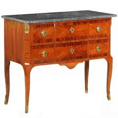 French Louis XV Kingwood Inlaid Marble-Top Antique Commode Chest of Drawers