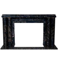 """Paquebot with Bronze Fluted Rings"", Art Deco Style Fireplace in Portoro Marble"