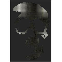 Skull Gun Bullets Panel in Black Plexiglass Exceptional Piece, 2016