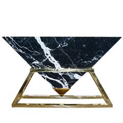 Keops Console Table with Pyramidal Marble Top and Brass Base
