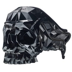 Skull Armchair Faceted Handcrafted with Black Velvet Seat