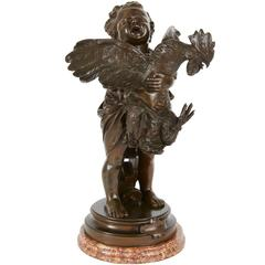 "Patinated Bronze Group of a Child Holding a Rooster ""L'enfant au Coq"""